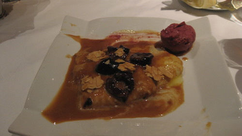 Gary Danko - FlambÈed Bing Cherries with Mascarpone Stuffed Crepes, Candied Almonds and Chunky Cherry Ice Cream