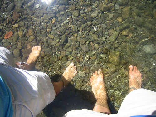 Dipping feet in Eel River