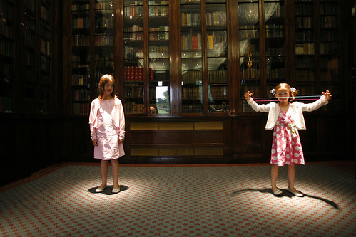 Girls demonstrating wave-particle duality.