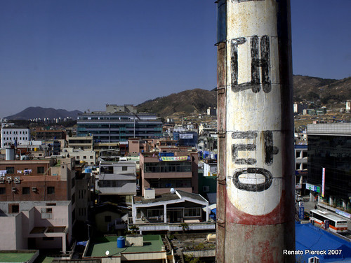 Gimhae business district and chimney