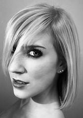 (abigailvictoria) Tags: portrait blackandwhite girl smile canon rebel model mac eyelashes makeup headshot diamond teen blonde redlips pearl caucasian canonrebelxti anjarubik