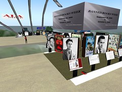 See the San Jose State University Banned Books Week Exhibit on the Main Stage, ALA Island (137, 102, 29).  Display created by Silhshoot Seelowe.