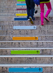 Catchy Colors (C_MC_FL) Tags: vienna wien street pink blue people urban orange signs green colors schilder lines stairs photography austria sterreich funny colorful fotografie pants legs geometry sold rosa mq catch fujifilm grn blau catchy bunt gettyimages beine museumsquartier personen stiegen strase s100fs