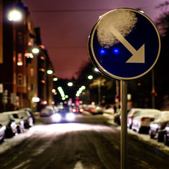 (-12C) Tags: street sign night square 50mm sweden stockholm headlights 365 hdr 008 d90 sigma50mmf14 project3661 2009x365
