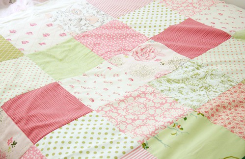 pink & green quilt top