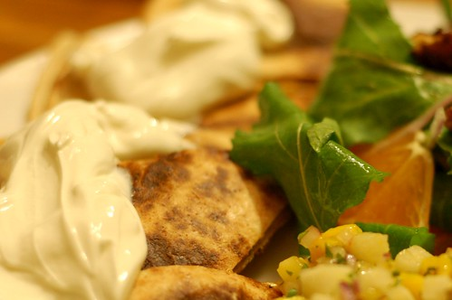Spinach-Onion Quesadillas With Mango Jicama Salsa and Arugala Citrus Salad
