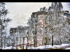 Winter scenery (Queen Tiye) Tags: city trees winter snow cold playground buildings geotagged frozen day view flag bulgaria rousse ruse    mywinners  prinzesabg geo:lon=25973235 geo:lat=43824604