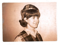 Judy with Tam at Lee College 1968 (Old Shoe Woman) Tags: usa college me hat childhood polaroid cleveland scanned oldphoto 1968 plaid tennesee newhairstyle leecollege lirclass