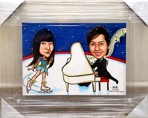 couple caricatures ice blading and pianist transparent acrylic frame