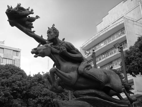 Simón Bolivar, naked.