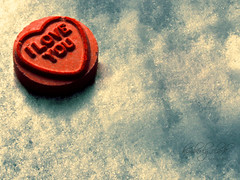Love is all, love is new... Love is all, love is you... (Just Kimberlee) Tags: red cold macro love ice crimson scarlet candy heart sunday scout explore frontpage candyheart explored abigfave anawesomeshot