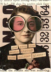 Rose Colored Glasses (HA! Designs - Artbyheather) Tags: game rose atc vintage fun glasses photo flickr pieces text group funky swap colored bingo