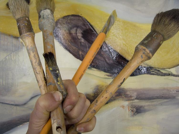 brushes in the studio