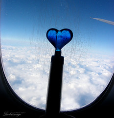 Blue V-day  (ShanLuPhoto) Tags: travel blue cloud love pen airplane fly heart flight   valentinesday