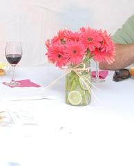 DIY Gerbera Centerpiece (valerina15) Tags: pink wedding diy mason gerbera daisy jar lime centerpiece limes