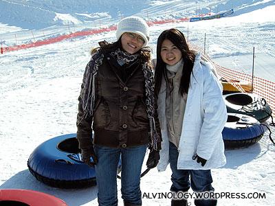 Rachel and Meiyen loves sledding