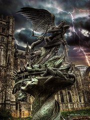 war of the angels (Kris Kros) Tags: new york city nyc cloud ny church statue angel photoshop photography us high wings bravo war heaven all dynamic cathedral symbol god head good earth manhattan touch hell over wing apocalypse bad evil battle angels freeze satan sword demon kris devil loves strength vs lightning range thunder hdr kk pseudo apocalyptic kkg demons beheading the freezes cs4 themoulinrouge photomatix kros kriskros 1xp of theperfectphotographer kktouch kkgallery