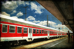 Li Cheng in Platform 8 (tochis) Tags: windows red summer station clouds train germany de deutschland bavaria vanishingpoint travels holidays europe perspective platform db textures hauptbahnhof summertime 1001nights railways convoy nrnberg otw holidaysvacanzeurlaub flickraward platinumheartaward spiritofphotography