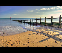 ..: Sand Water Wood :.. (beach and sea) (Komatoes) Tags: uk sea sun seaweed beach water clouds san