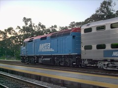 Westbound Metra commuter local departing River Grove Illinois. Early October 2007.