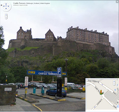 Good view of Edinburgh Castle from Google Street View on Castle Terrace, Edinburgh