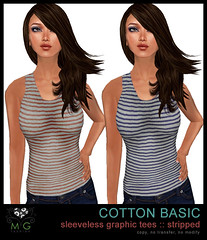 [MG fashion] Sleeveless Graphic Tees :: stripped 01