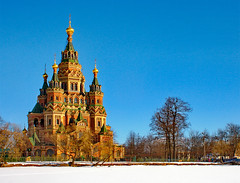 Peter and Paul Cathedral. Peterhof. (Oleg Mirabo) Tags: stpetersburg paul cathedral russia peter suburb peterhof onblue   olginprud
