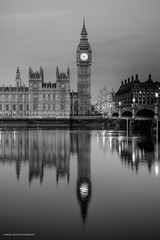 Dawn, meet Ben. Ben, this is dawn. (conorwithonen) Tags: blackandwhite reflection london dawn bigben riverthames waterloobridge palaceofwestminster canoneos5dmarkii iconiclandmarks canon2470usml