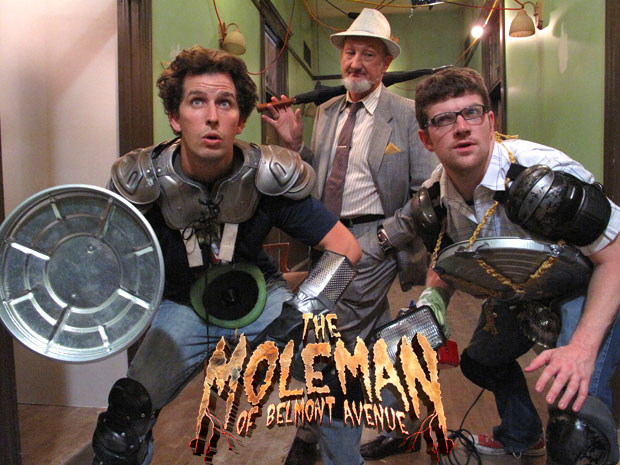 John LaFlamboy (L) and Mike Bradecich (R) look for the Mole Man while Robert Englund looks on...