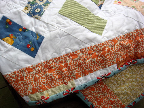 vintage inspired quilt detail and backside