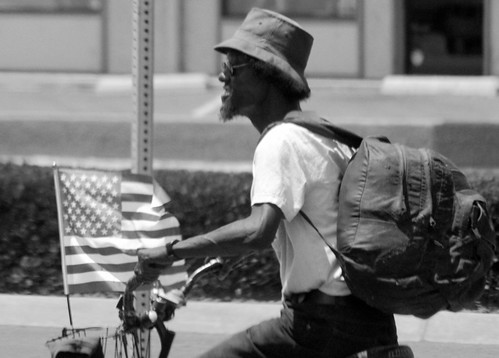 Homeless with flag