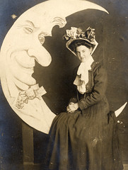 Sitting on the moon (lovedaylemon) Tags: old woman moon smile hat vintage paper found image margate papermoon marinearcadestudios