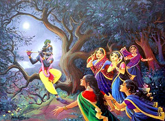ISKCON desire tree - Krishna and the Gopis in Moonlight (ISKCON Desire Tree) Tags: vishnu demon krishna garuda kidnap radha gopis rukmini chaitanya radhakrishna iskcon narasimha madhava bhumi govardhan bhima lordvaraha