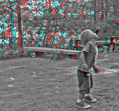 Bubbles (Anaglyph 3D) (patrick.swinnea) Tags: boy minnesota stereoscopic stereophoto 3d kid bubbles anaglyph crosby