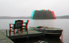 Foggy Dock (Anaglyph 3D) (patrick.swinnea) Tags: minnesota island boat stereoscopic stereophoto 3d dock anaglyph agatelake
