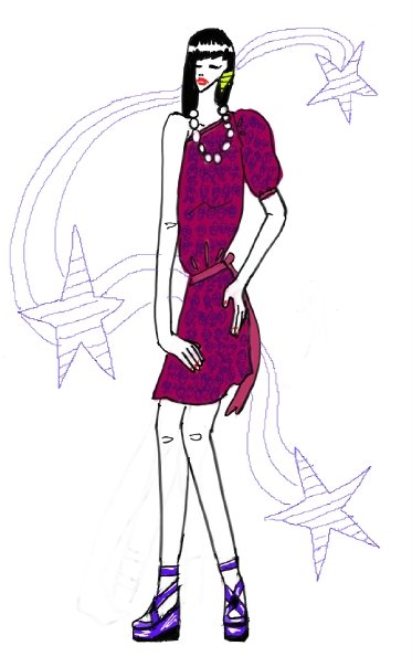 jennifer choi drawings 80's purple off shoulder dress