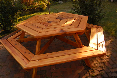 Hexagonal Cedar Picnic Table Mamaliga Romanian Expat Living In - How to stain a picnic table