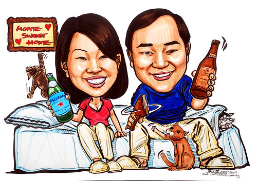 Couple caricatures home sweet home