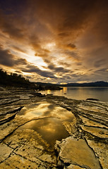 GOLDEN POND (~~~johnny~~~) Tags: sea sky seascape texture beautiful norway rock clouds reflections wonderful golden pond nikon rocks calm tamron potofgold nikond40 1024mm