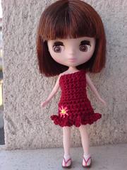 NEW!! Petite Blythe garnet one sleeve with flower