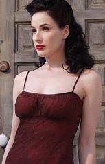 Dita von Teese: Brown Vintage Dress
