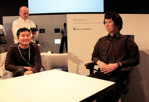 Hiroshi Ishiguro, Geminoid H1-1 at Ars Electronica. Photo: Bruce Charlesworth