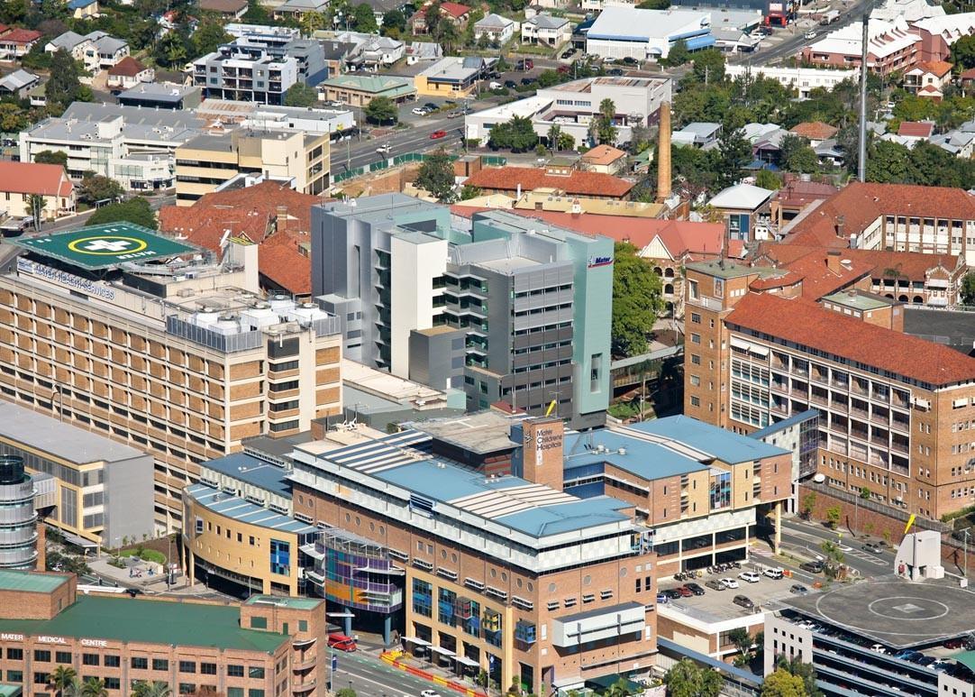 Aerial view of the Mater South Brisbane complex which includes Mater Mothers\' Hospitals, Mater Children\'s Hospitals and Mater Adult Hospital