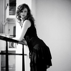 Lola black and white (Pauline Franque) Tags: blackandwhite woman dress balcony retro squarephotography