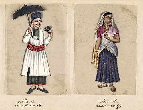 004-Hombre y mujer Parsi-Seventy two specimens of castes in India 1837