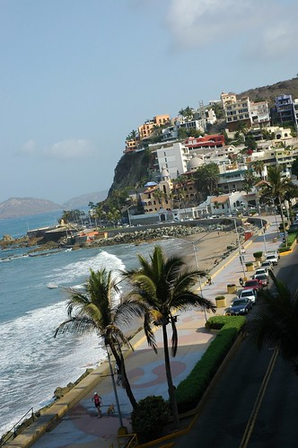 Tropical beach, street view of the Olas Altas malecon, waves on the Pacific Ocean, early morning from the Belmar Hotel, South Mazatlan, Sinaloa, Mexico by Wonderlane
