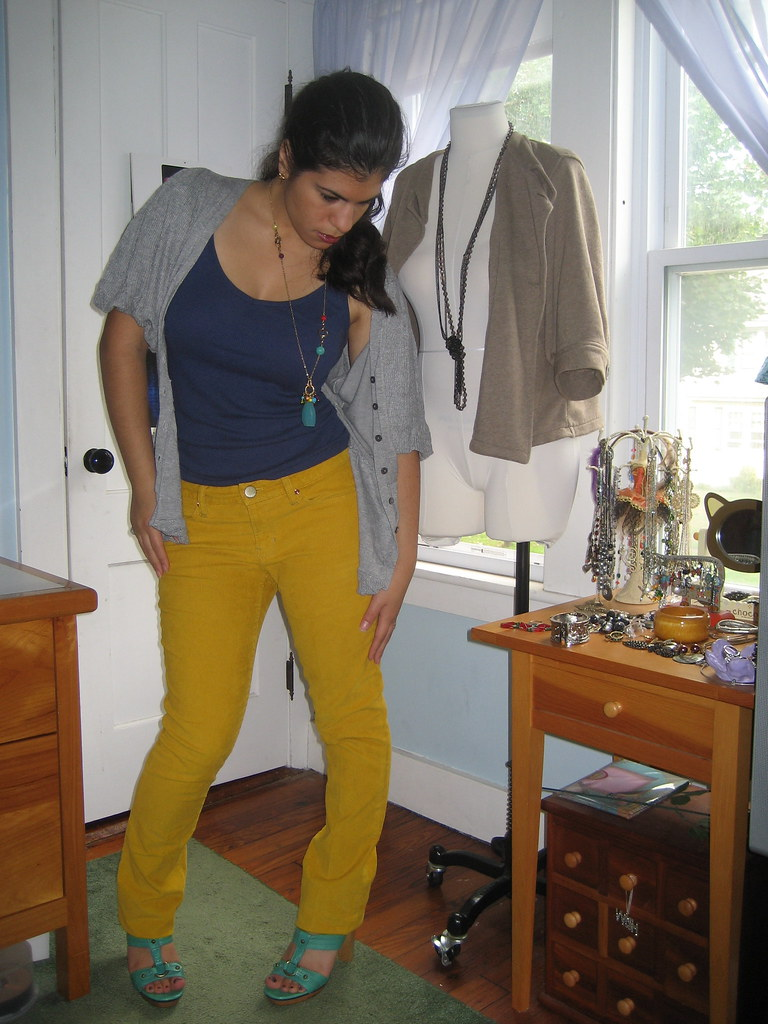 Mustard Cords, Navy Top, Grey Bubble Cardigan, Turquoise Sandals