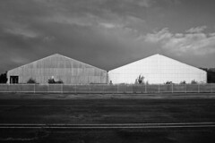 Homage to Lewis Baltz (Delay Tactics) Tags: new white black landscape sheffield hangar lewis norton retro explore homage aerodrome topography baltz mossvalley lightwood haphazarthomage