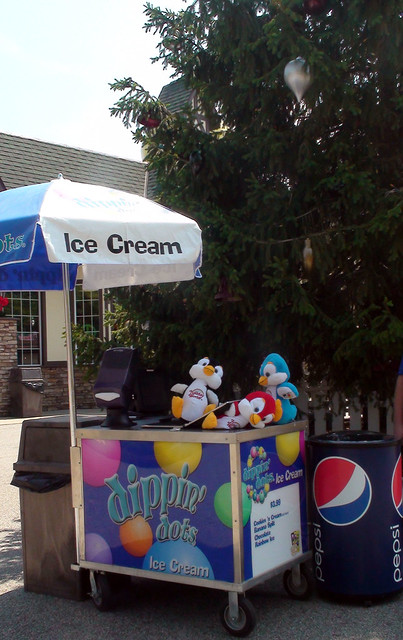 Our penguins discovered Dippin' Dots!