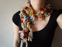 Lonicera Morrowii ... Freeform Crochet Scarflette (irregular expressions) Tags: pink blue red orange brown white flower green art yellow coral scarf leaf spring beige colorful purple handmade turquoise burgundy maroon crochet peach expressions chartreuse plum creme accessories lariat persimmon etsy fiber vermilion neckwarmer irregular freeform flowery neckwear scarflette irregularexpressions